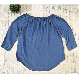 Beach Lunch Lounge Off Shoulder Chambray Top